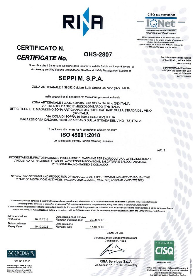 RINA Certificato OHS 2807 ISO 45001 2018 big