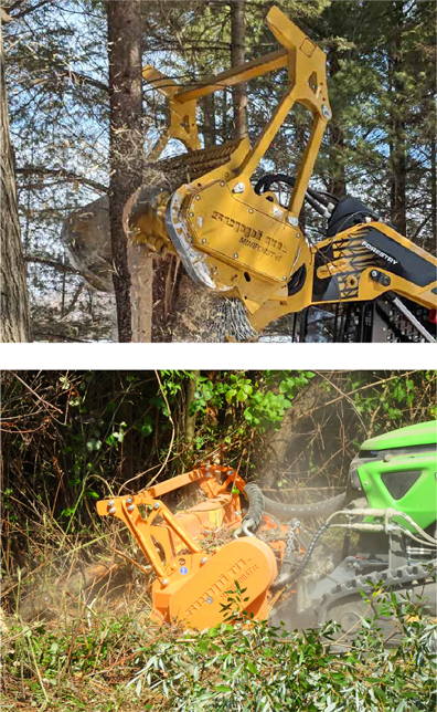 forestry mulcher mulching tree and remote control forestry mulcher