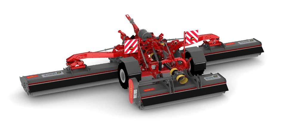 Three independent mulching mowers are trailed on a chassis with 2 wheels for up to 7m of working width