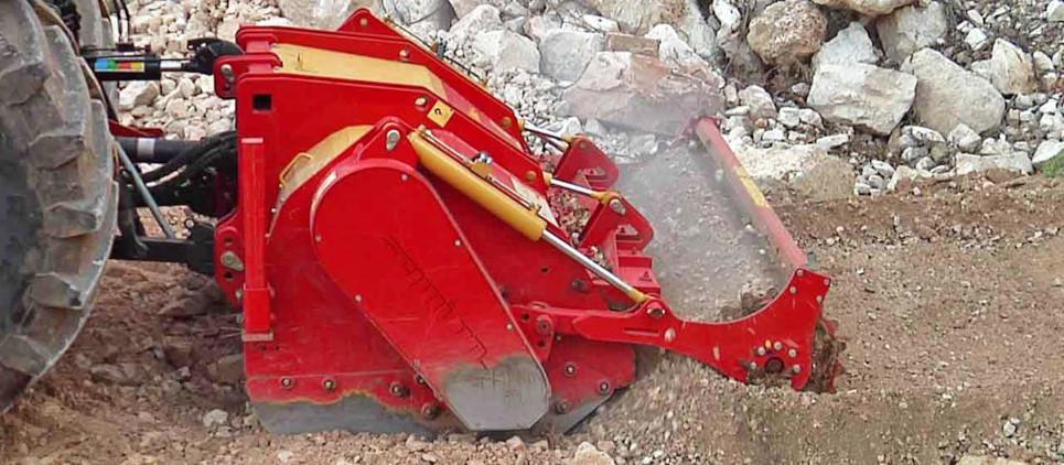 Grind building rubble on construction sites